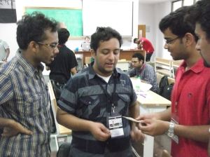 A Blind engineering student giving feedback